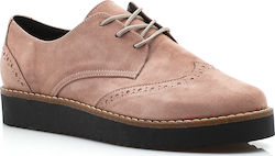 Suede oxford με flatform σόλα 40 Κ NUDE