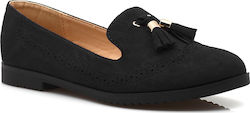 Suede loafers με κρόσσια και ανάγλυφο σχεδιασμό W-118 ΜΑΥΡΟ