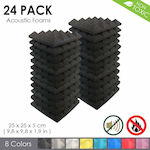 Pyramid Acoustic Home Studio Soundproof Foam Wall Panel Tiles (BLACK) pack of 24 (25 X 25 X 5 cm)