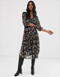 Stradivarius midi dress in tulle floral print-Multi