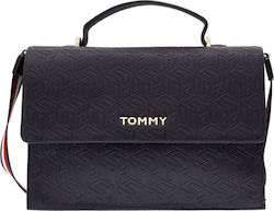 Tommy Hilfiger Τσάντα Δερματίνης Party Satchel AW0AW08152-0GY Navy