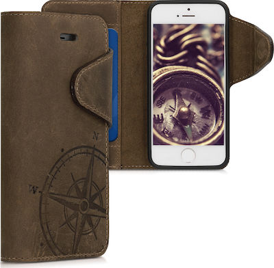 KW Kalibri Suede Navigational Compass Wallet Δερματίνης Καφέ (iPhone 5/5s/SE)