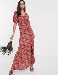 Y.A.S Jellica floral print maxi dress-Red